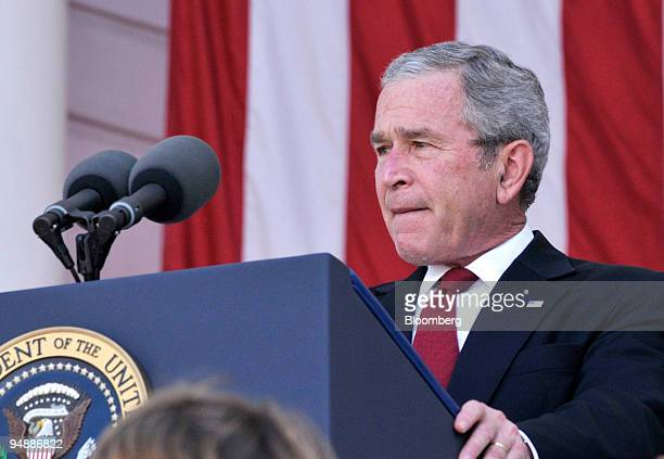 S President George W Bush makes an address during the Arlington National Cemetery Memorial Day Commemoration in Arlington Virginia US on Monday May...