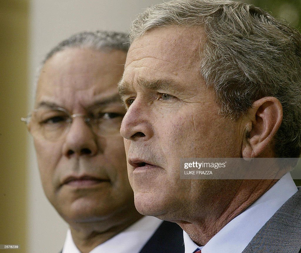US President George W. Bush (R) makes re Pictures | Getty Images