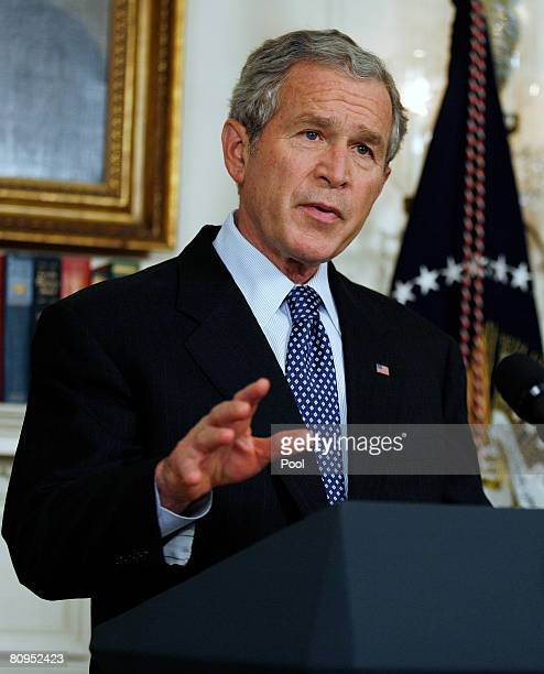S President George W Bush makes speaks about food aid in the Diplomatic Reception Room of the White House May 1 2008 in Washington DC Bush will ask...