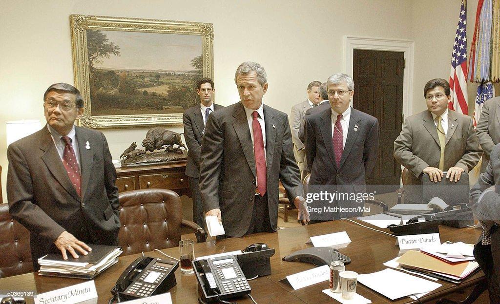 George W. Bush;Josh Bolten;Norman Y. Mineta;Al Gonzalez : News Photo