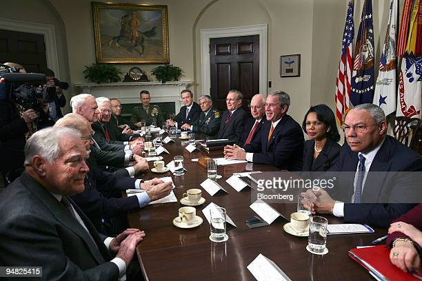President George W Bush meets with former Secretaries of Defense and former Secretaries of State to discuss the Iraq war in the Roosevelt Room of the...