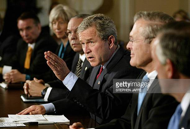 President George W. Bush meets with his Cabinet including Heath and Human Services Secretary Tommy Thompson , Secretary of Interior Gale Norton ,...