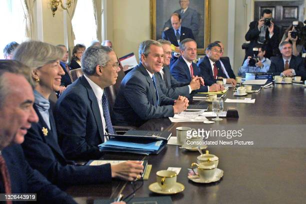 President George W Bush meets with his cabinet meeting at the White House, Washington DC, April 9, 2001. Pictured are, from left, Secretary of Health...