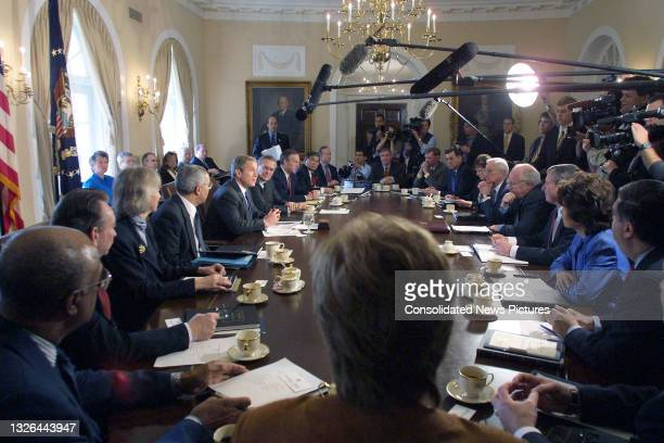 President George W Bush meets with his cabinet meeting at the White House, Washington DC, April 9, 2001. Pictured are, clockwise, from lower left,...