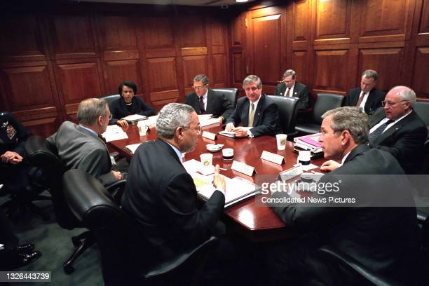 President George W Bush meets with members of the National Security Council meeting in the White House's Situation Room, Washington DC, October 2,...