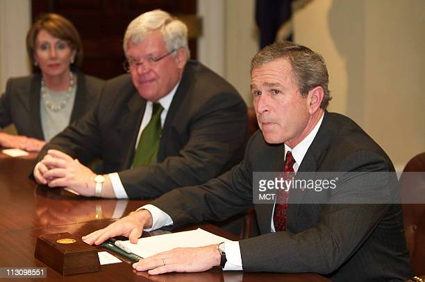WASHINGTON DC President George W Bush meets with Nancy Pelosi far left and Dennis Hastert at the White House on Monday March 17 2003