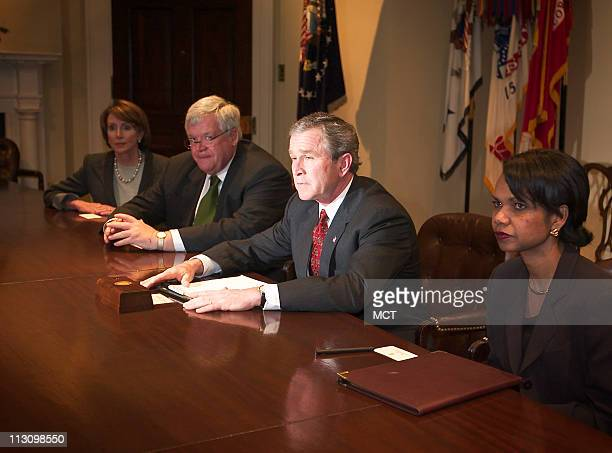 WASHINGTON DC President George W Bush meets with Nancy Pelosi far left Dennis Hastert and Condolezza Rice at the White House on Monday March 17 2003