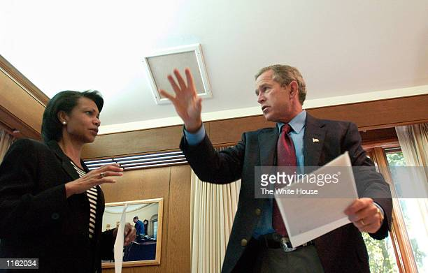 President George W. Bush meets with National Security Advisor Condoleezza Rice September 16, 2001 at his office at Camp David, MD.