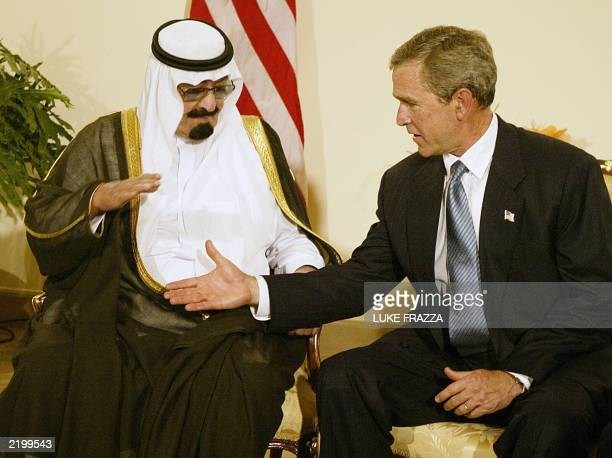 US President George W Bush meets with Saudi Crown Prince Abdullah at the Four Seasons Hotel in Sharm elSheikh Egypt 03 June 2003 Bush and Abdullah...