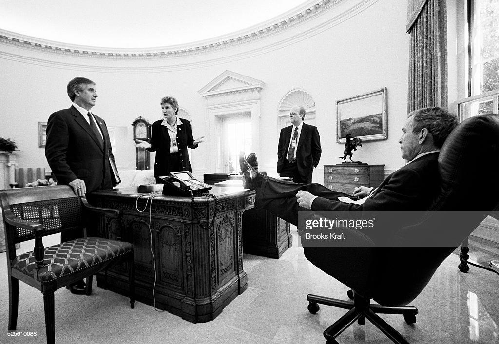 george bush oval office. U.S. President George W. Bush Meeting With Staff George Bush Oval Office