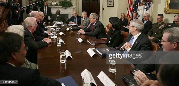 S President George W Bush meets with the Iraq Study Group in the Roosevelt Room of the White House on June 14 2006 in Washigton DC Attending the...