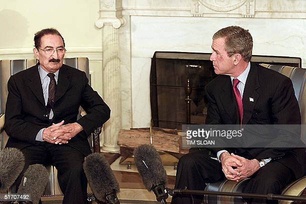President George W Bush meets with the Prime Minister of Turkey Bulent Ecevit in the Oval Office of The White House 16 January 2002 in Washington DC...