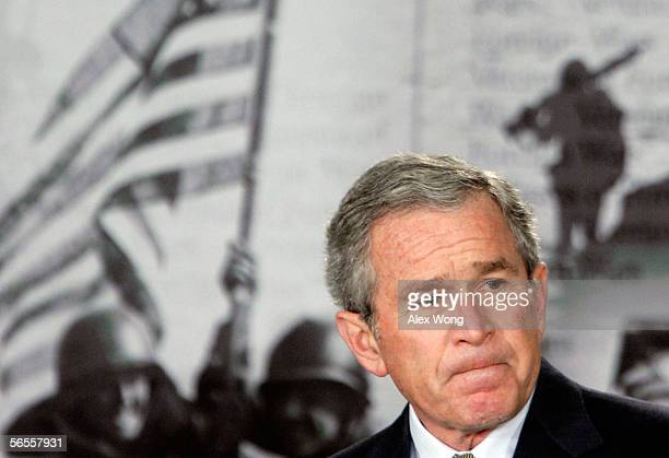 US President George W Bush pauses during remarks on the war in Iraq to veterans of foreign wars and wounded soldiers recuperating from action in...