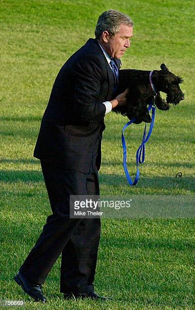 S President George W Bush picks up his dog Barney as he walks on the South Lawn of the White House enroute to his Marine One helicopter for a trip to...