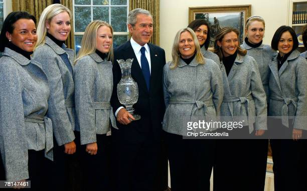 S President George W Bush poses for photographs with members of the 2007 Solheim Cup winning team Sherri Steinhauer Brittany Lincicome Morgan Pressel...