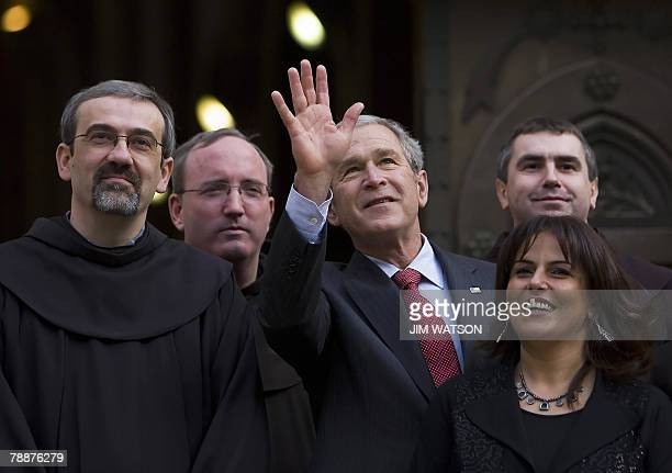 US President George W Bush poses with Franciscan religious leaders and Palestinian Minister of Tourism and Antiquities Khulud Duaibess while touring...