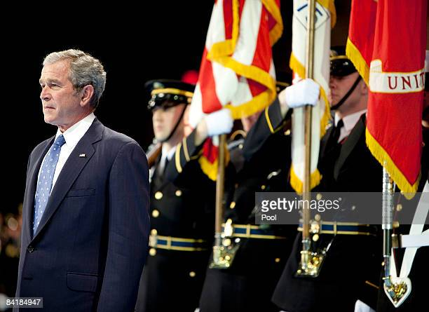 US President George W Bush prepares to receive the Department of Defense Medal for Distinguished Public Service during the Military Appreciation...