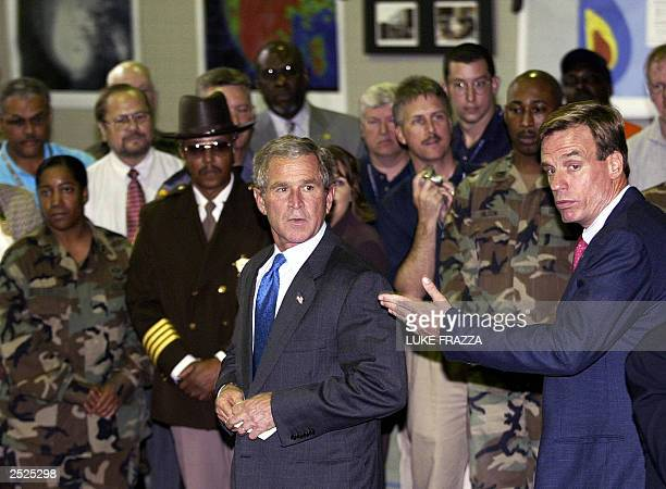 US President George W Bush prepares to speak to emergency workers dealing with Hurricane Isabel at the Temporary Virginia Emergency Operations Center...