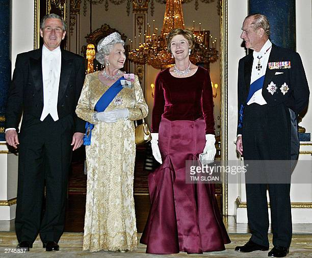 President George W. Bush, Queen Elizabeth II, First Lady Laura Bush and Prince Philip, The Duke of Edinburgh arrive at the White Drawing Room of...