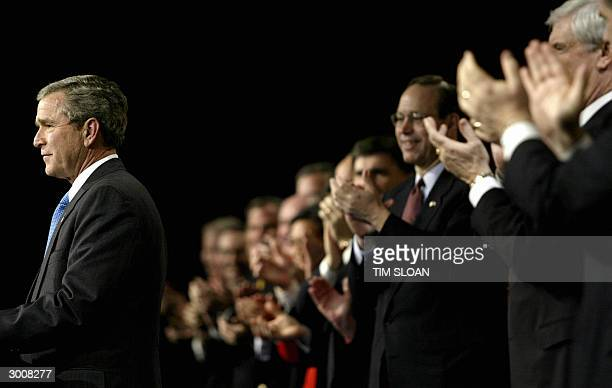 President George W. Bush receives a standing ovation during the Republican Governors Association Reception and Fundraiser at the Washington...