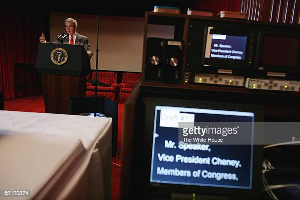 S President George W Bush rehearses his State of the Union address in the family theater of the White House February 1 2005 in Washington DC Bush is...