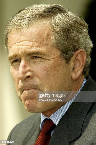President George W Bush responds to those critical that the White House had prior knowledge of the 911 terrorism attacks during Rose Garden ceremony...
