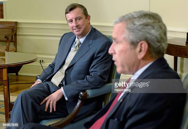 President George W Bush right meets with Edward Gillespie at the White House June 13 in Washington DC Bush named Gillespie a lobbyist and longtime...