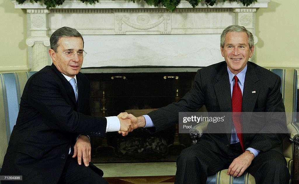 recapturing oval office. U.S. President George W. Bush (R) Shakes Hands With Columbian  Alvaro Uribe Recapturing Oval Office G