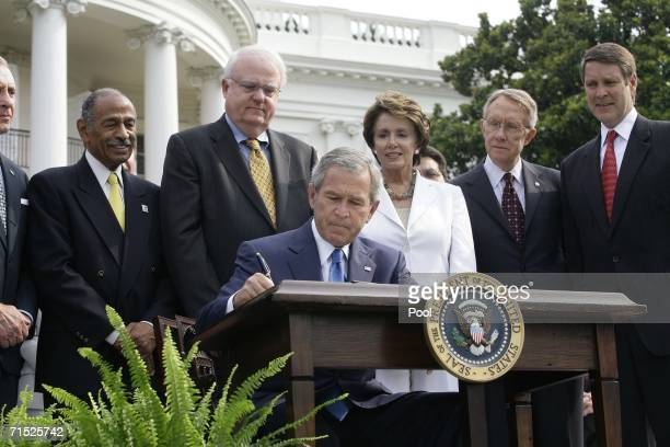 US President George W Bush signs the HR 9 the Fannie Lou Hammer Rosa Parks and Coretta Scott King Voting Rights Act Reauthorization and Amendments...