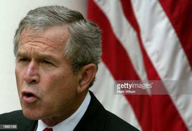 S President George W Bush speaks about judicial independence and the judicial confirmation process in the Rose Garden of the White House May 9 2003...