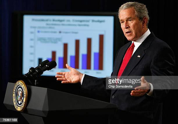 S President George W Bush speaks about the midyear FY2007 budget report in the Eisenhower Executive Office Building July 11 2007 in Washington DC...
