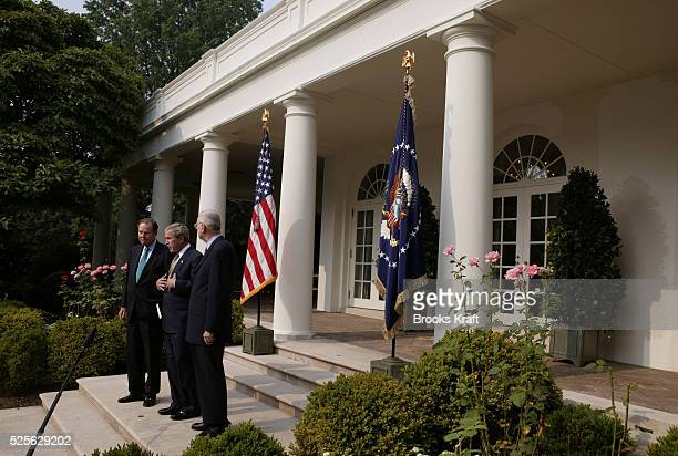US President George W Bush speaks about the release of the September 11th Commission's final report in the Rose Garden at the White House in...