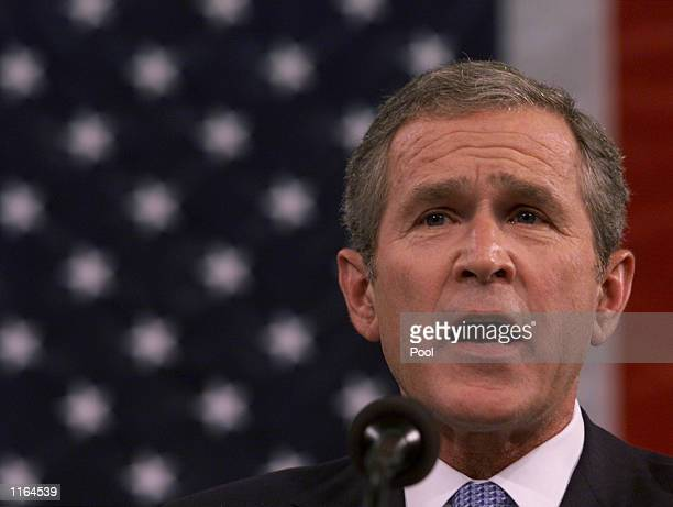 S President George W Bush speaks about the terrorist attacks on America while addressing a joint session of Congress September 20 2001 at the US...