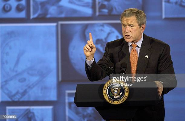 S President George W Bush speaks about the US economy at Micro Control Company June 19 2003 in Fridley Minnesota Bush said the economy was now ready...