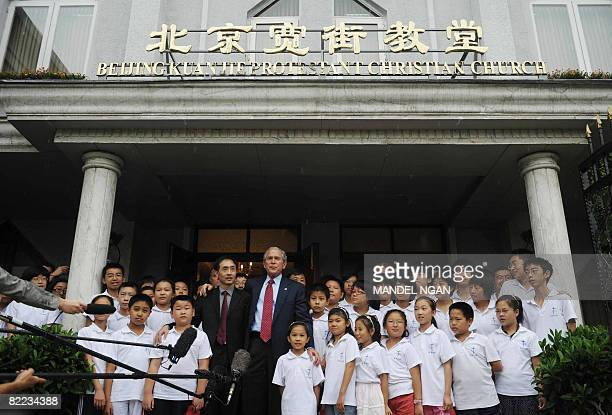 US President George W Bush speaks after attending Sunday service at Beijing Kuanjie Protestant Christian Church in the Chinese capital on August 10...
