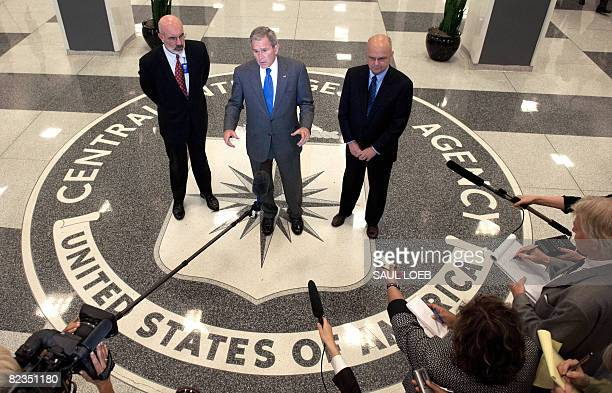 President George W Bush speaks alongside CIA Director General Michael Hayden and deputy director Stephen Kappes after meetings at CIA Headquarters in...