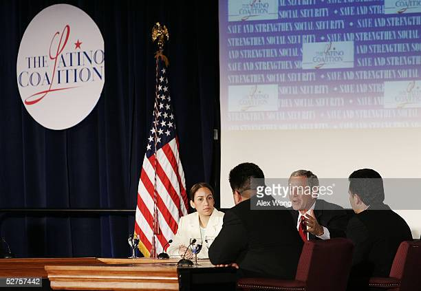 S President George W Bush speaks as Jessica Gomez Fidel Vargas and Gilbert Ybarra look on at a roundtable discussion during the 2005 Latino Small...