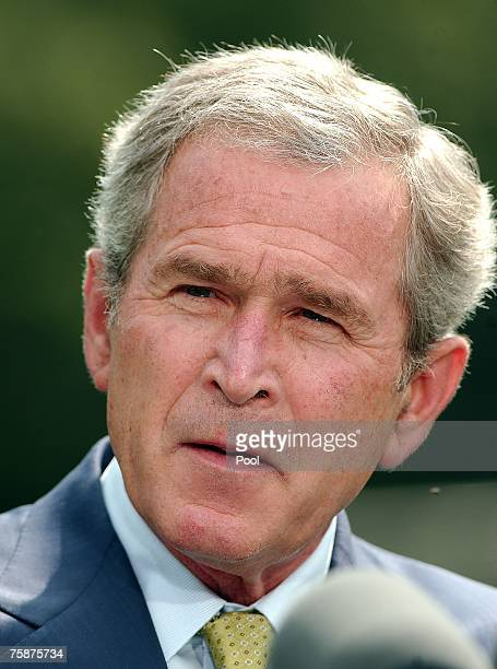 President George W Bush speaks at a joint news conference held with British Prime Minister Gordon Brown July 30 2007 at Camp David Maryland Brown's...