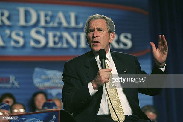 President George W. Bush speaks at a Medicare Prescription Drug enrollment event at Northern Virginia Community College April 12, 2006 in Annandale,...