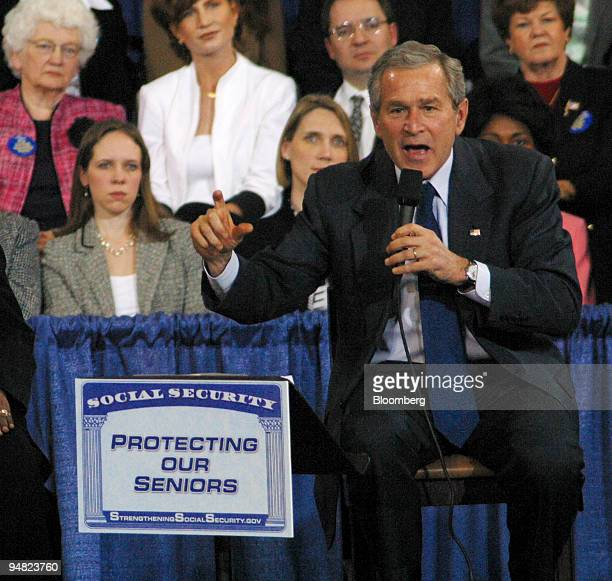 President George W. Bush speaks at Centenary College in Shreveport, Louisiana, on Friday afternoon March 11 about social security before an audience...