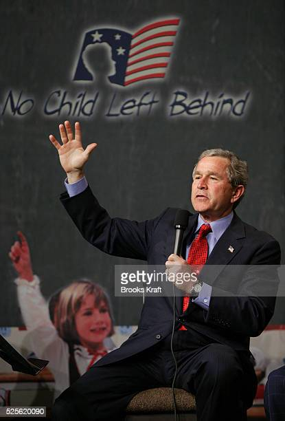 President George W Bush speaks at Pierre Laclede Elementary school in St Louis Missouri Bush paid a visit to the school to talk about his...