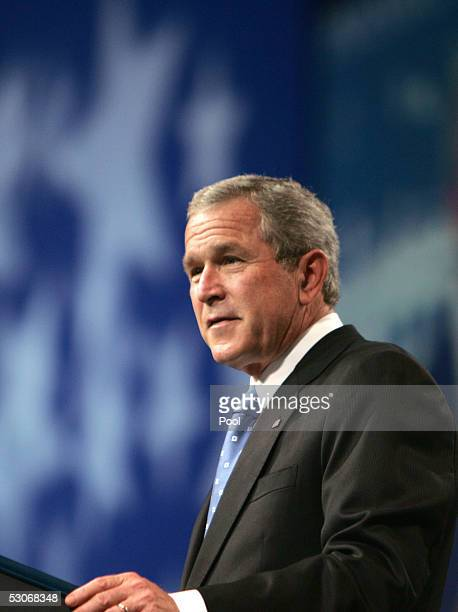 US President George W Bush speaks at the annual President's Dinner June 14 2005 in Washington DC The event caps a day of Republican fundraising