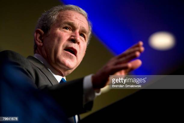 President George W Bush speaks at the Conservative Political Action Conference February 8 2008 in Washington DC President Bush spoke to the group...