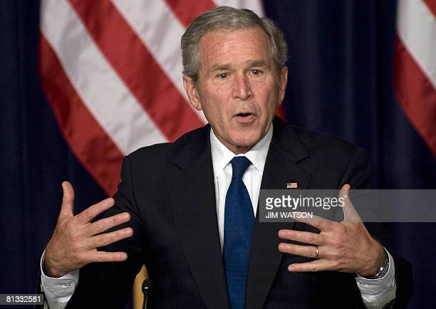 President George W. Bush speaks at the Eisenhower Executive Office Building in Washington, DC, June 2, 2008 during a meeting on the economy and tax...