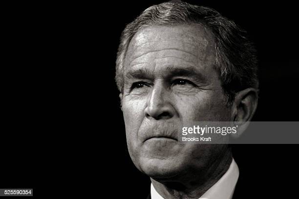 US President George W Bush speaks at the Kansas State University in Manhattan Kansas