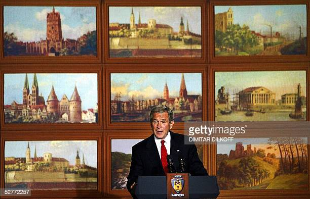 President George W Bush speaks at the Maza Gilde in Riga 07 May 2005 The occupation by the Soviet Union of the Baltic states and other countries in...