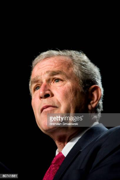 S President George W Bush speaks at the National Catholic Prayer Breakfast at the Washington Hilton Hotel April 18 2008 in Washington DC Republican...