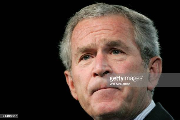 S President George W Bush speaks at the national convention of the National Association for the Advancement of Colored People on July 20 2006 in...
