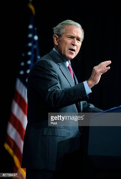 US President George W Bush speaks at the National Defense University at Ft McNair September 9 2008 in Washington DC Bush announced his plans to...
