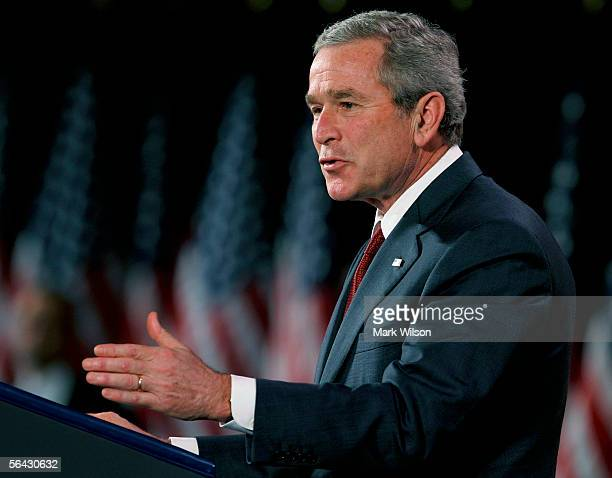 President George W. Bush speaks at the non-partisan Woodrow Wilson International Center December 14, 2005 in Washington, DC. Bush defended his...